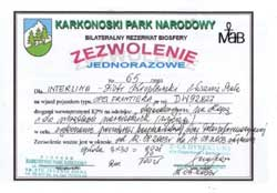 Permission - Karkonoski Park Narodowy